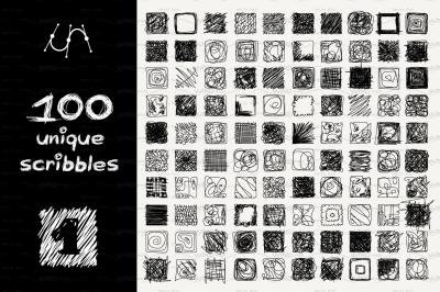 vector SET 100 SCRIBBLES Part 1 - square