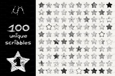 vector SET 100 SCRIBBLES Part 1 - star