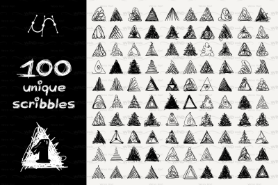 vector SET 100 SCRIBBLES Part 1 - triangle