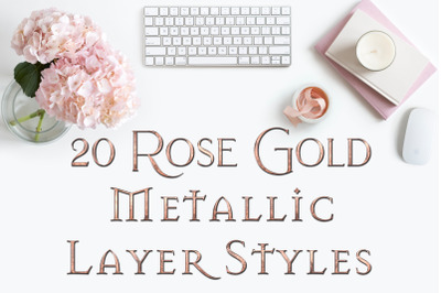 20 Rose Gold Metallic Layer Styles for Photoshop