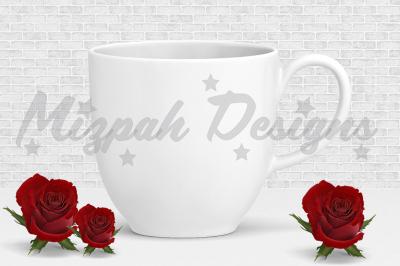 White Blank Mug Mock up Coffee Mug Cup Red Rose Valentine Flower Mock