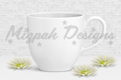 White Blank Mug Mock up Coffee Mug Cup Chrysanthemum Daisy Flower Mock