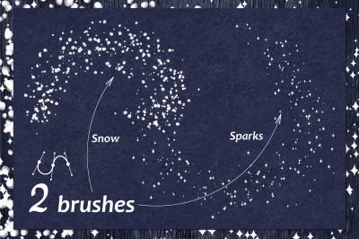 vector Snow, sparkling brush (AI)