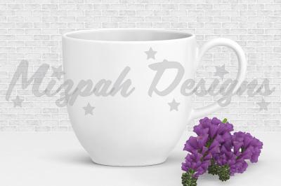 White Blank Mug Mock up Coffee Mug Cup Purple Flower Mock up Mug Desig
