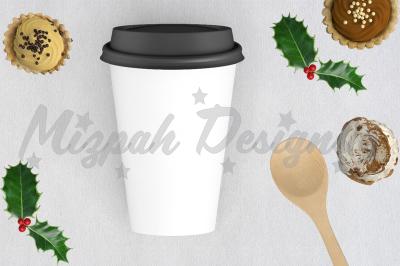 White Blank Portable Flask Travel Mug Mock up Coffee Mug Cup Xmas Holi