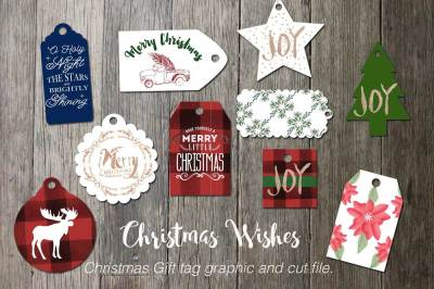 Christmas Wishes gift tag graphics and cut file