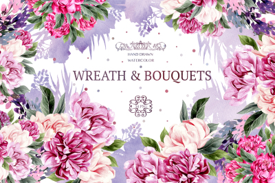 Watercolor Wreath & Bouquets
