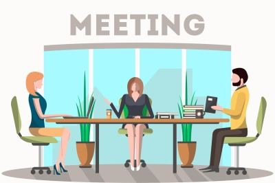 Business meeting in conference room vector illustration.