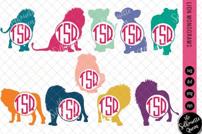 Lion Svg, Monogram Svg,Circle Frames, Cuttable Design, Cut files, Silh
