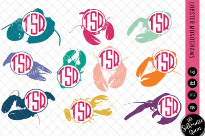 Lobster Svg, Monogram Svg, Circle Frames, Cuttable Design, Cut files,