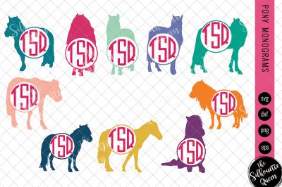 Pony Svg, Monogram Svg, Circle Frames, Cuttable Design, Cut files, Sil