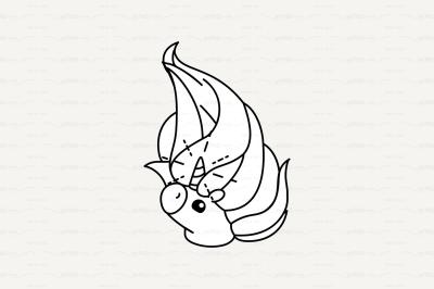 vector Cute outline unicorn head