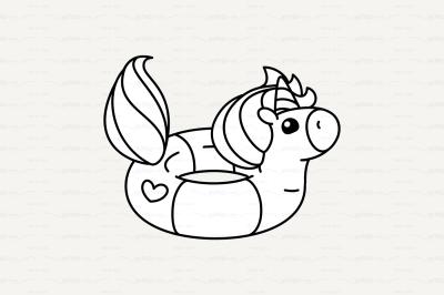 vector Cute outline lifebuoy unicorn