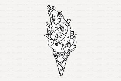 vector Cute outline unicorn ice cream cone