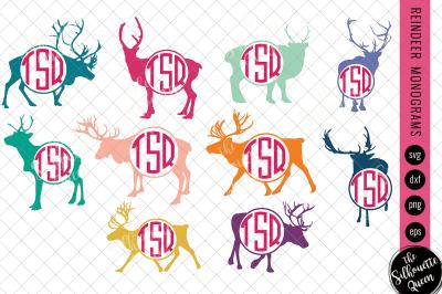 Reindeer Svg, Monogram Svg, Circle Frames, Cuttable Design, Cut files,