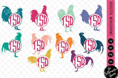 Rooster Svg, Monogram Svg, Chicken Circle Frames,  Cuttable Design,  S