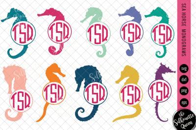Sea Horse Svg, Monogram Svg, Circle Frames, Cuttable Design, Cut files