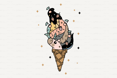 vector Cute scandi unicorn ice cream cone