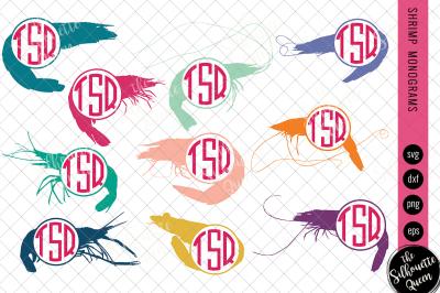 Shrimp Svg, Monogram Svg, Circle Frames, Cuttable Design, Cut files, S
