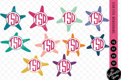 Star Fish Svg, Monogram Svg, Circle Frames, Cuttable Design, Cut files