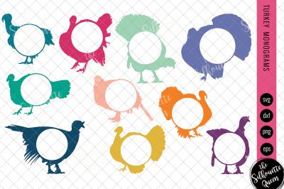 Turkey Svg, Monogram Svg, Circle Frames, Cuttable Design, Cut files, S