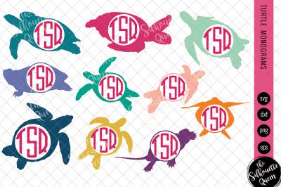 Turtle Svg, Monogram Svg, Circle Frames, Cuttable Design, Cut files, S