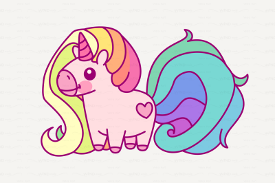 vector Cute rainbow unicorn
