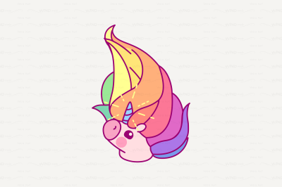 vector Cute rainbow unicorn head