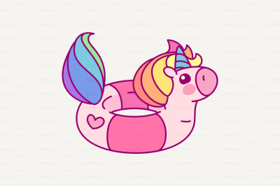 vector Cute rainbow unicorn  lifebuoy
