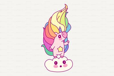 vector Cute rainbow unicorn