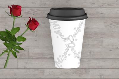 White Blank Portable Flask Travel Mug Mock up Coffee Mug Cup Rose Flow