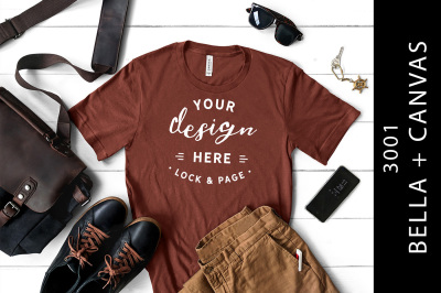 Mens Rust Bella Canvas 3001 TShirt Mockup Masculine Flat Lay