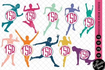 Runner Women Svg Monogram, Circle Frames, Cuttable Design, Cut files,