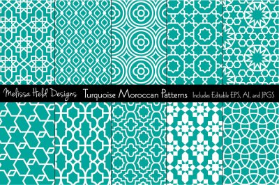 Moroccan Patterns: Turquoise Blue