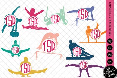Gymnastics Svg Monogram, Circle Frames, Cuttable Design, Cut files, Si