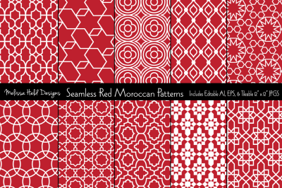 Seamless Red Moroccan Patterns