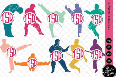 Taekwondo Svg Monogram, Circle Frames, Cuttable Design, Cut files, Sil