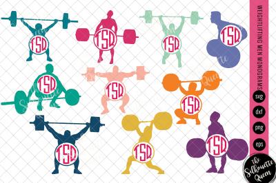 Weightlifting Svg Monogram, Circle Frames, Cuttable Design, Cut files,