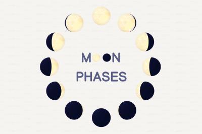 vector cartoon moon phases