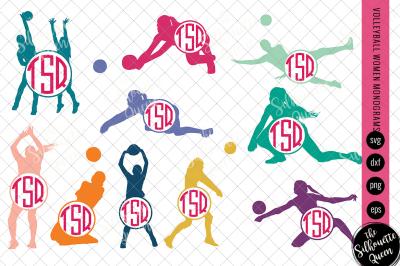 Volleyball Svg Monogram, Circle Frames, Cuttable Design, Cut files, Si