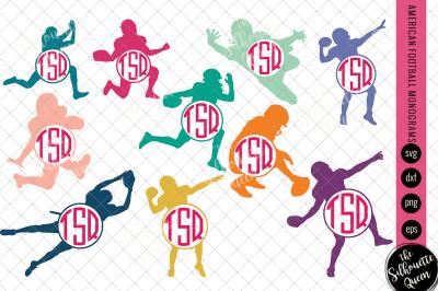 Football Svg Monogram, Circle Frames, Cuttable Design, Cut files, Silh
