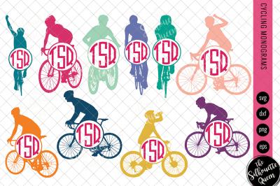 Cycling Svg Monogram, Circle Frames, Cuttable Design, Cut files, Silho