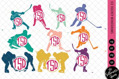 Ice Hockey Svg Monogram, Circle Frames, Cuttable Design, Cut files, Si