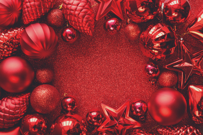 Red Christmas frame. Christmas balls, stars, cones and hearts