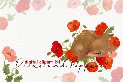 Cute deers and poppies flowers clipart kit