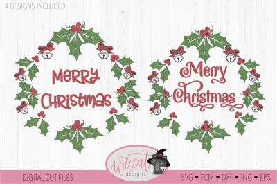 Merry Christmas wreath svg, branch svg, wreath sv
