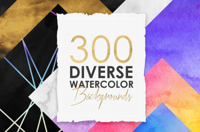 300 Diverse Watercolor Backgrounds