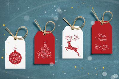 Christmas Gift Tag Layout Set