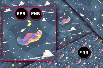vector unicorn seamless pattern