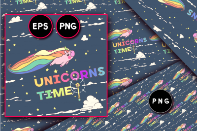 vector unicorn seamless pattern